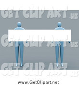 Clip Art of a 3d Blue People Holding a Long Blank Sign by 3poD