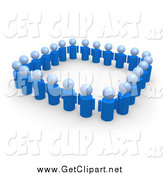 Clip Art of a 3d Blue People Standing Side by Side and Forming a Square by 3poD