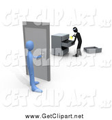 Clip Art of a 3d Blue Person About to Open a Door to a Room Where a Robber Is Going Through Drawers by 3poD