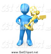 Clip Art of a 3d Blue Person Holding a Trophy by 3poD