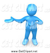 Clip Art of a 3d Blue Person Presenting to the Left by 3poD