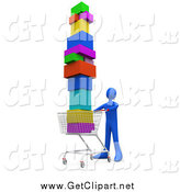 Clip Art of a 3d Blue Person Pushing a Shopping Cart Stacked High with Boxes by 3poD