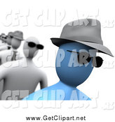Clip Art of a 3d Blue Person Wearing Sunglasses and a Hat, Walking in a Line by 3poD