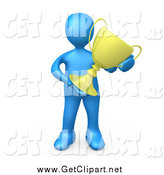 Clip Art of a 3d Blue Winner Holding a Trophy Cup by 3poD
