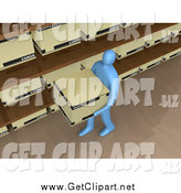 Clip Art of a 3d Blue Worker Carrying a Storage Box past Shelves in an Office by 3poD