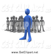Clip Art of a 3d Bold Blue Person Standing out Away from a Crowd of Gray People by 3poD
