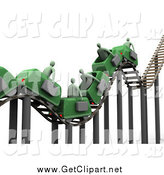 Clip Art of a 3d Bumpy Green Roller Coaster and Businessmen with Briefcases by 3poD