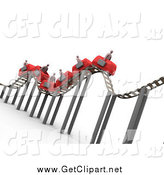 Clip Art of a 3d Bumpy Roller Coaster Transporting Businessmen with Briefcases by 3poD