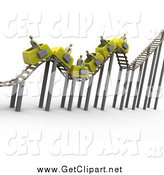 Clip Art of a 3d Bumpy Yellow Roller Coaster Transporting Gray Businessmen with Briefcases by 3poD