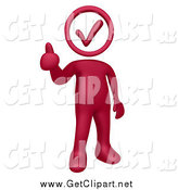 Clip Art of a 3d Burgundy Red Man with a Check Mark Head, Holding a Thumb up by 3poD