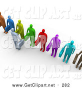 Clip Art of a 3d Business Man Facing a Line of Applicants or Employees and Shaking Their Hands by 3poD
