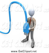 Clip Art of a 3d Business Man Holding Blue Computer Cables by 3poD