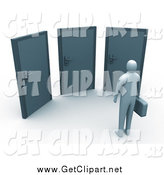 Clip Art of a 3d Business Person Standing Before Three Doors, Symbolizing Opportunity and Uncertainty by 3poD