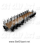 Clip Art of a 3d Business Team Gray People During a Conference, Seated at a Table by 3poD