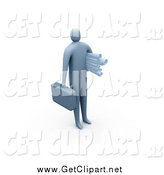 Clip Art of a 3d Businessman Carrying a Briefcase and Blueprints by 3poD