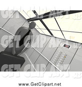 Clip Art of a 3d Businessman Holding His Briefcase and Riding in an Elevator, with Tilt by 3poD