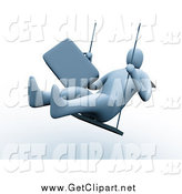 Clip Art of a 3d Businessman Swinging by 3poD