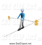 Clip Art of a 3d Businessman Walking and Balancing on a Tightrope with a Bar and Two Dollar Signs by 3poD