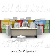 Clip Art of a 3d Businessman Working at a Desk with Unorganized File Cabinets by 3poD