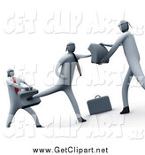 Clip Art of a 3d Businessmen Learning to Fight by 3poD