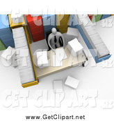 Clip Art of a 3d Busy Employee Seated at a Messy Desk, Surrounded by Filing Cabinets and Paperwork by 3poD