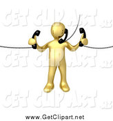 Clip Art of a 3d Busy Gold Man Handling Multiple Phones by 3poD