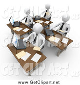 Clip Art of a 3d Busy Team of White People Compiling Financial Data by 3poD