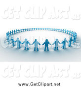 Clip Art of a 3d Circle of Blue Paper People Holding Hands by 3poD