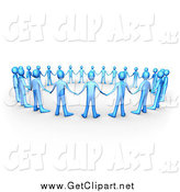 Clip Art of a 3d Circle of Blue People Holding Hands, Symbolizing Support and Teamwork by 3poD