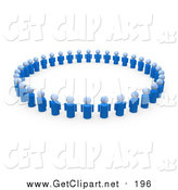 Clip Art of a 3d Circle of Blue People in a Support Group by 3poD