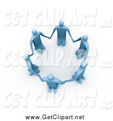 Clip Art of a 3d Circle of Blue People on Their Knees by 3poD