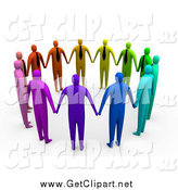 Clip Art of a 3d Circle of Colorful and Diverse Corporate Businessmen Standing Hand in Hand by 3poD
