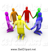 Clip Art of a 3d Circle of Colorful People Kneeling and Holding Hands in a Circle by 3poD