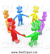 Clip Art of a 3d Circle of Diverse People with Puzzle Piece Heads by 3poD