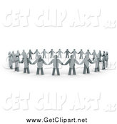 Clip Art of a 3d Circle of Flat Gray People and Their Shadows, Holding Hands and Providing Support by 3poD