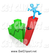 Clip Art of a 3d Collapsing Bar Graph Chart and Man Balancing on Top by 3poD