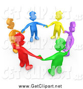 Clip Art of a 3d Colorful Diverse Group with Dollar Symbol Heads, Holding Hands and Standing in a Circle by 3poD