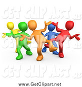 Clip Art of a 3d Colorful Group Dancing and Having Fun at a Party by 3poD