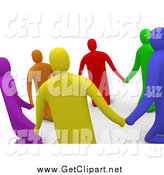Clip Art of a 3d Colorful Unity Circle Praying and Holding Hands in a Circle by 3poD