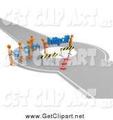 Clip Art of a 3d Construction Zone of Orange Men Carrying Com and Http Across a Road Block by 3poD
