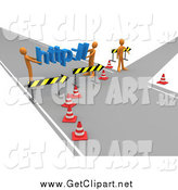 Clip Art of a 3d Construction Zone of Orange Men Carrying Http Across a Road Block by 3poD