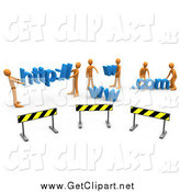 Clip Art of a 3d Construction Zone of Orange Men Carrying Http, Www, and Com Letters by 3poD