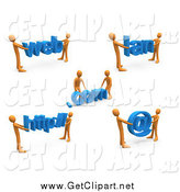 Clip Art of a 3d Construction Zone of Orange Men Carrying Web, Com, Lan, Http and an Email Symbol. by 3poD
