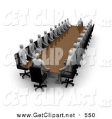 Clip Art of a 3d Coucil Consisting of Gray People, Conducting a Meeting at a Long Rectangular Table by 3poD
