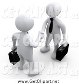Clip Art of a 3d Couple of White People with Briefcases, Engaged in a Handshake by 3poD