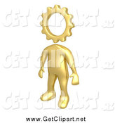 Clip Art of a 3d Creative Cog Headed Golden Person by 3poD