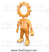 Clip Art of a 3d Creative Cog Headed Orange Person by 3poD