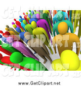 Clip Art of a 3d Crowd of Colorful People Standing and Facing Front by 3poD