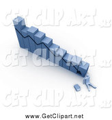 Clip Art of a 3d Declining Bar Graph and Businessman at the Bottom by 3poD
