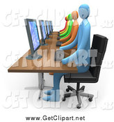 Clip Art of a 3d Diverse Busy Office Team Working on Computers by 3poD